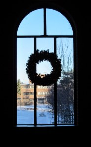 Photo of window with wreath