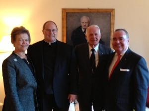 (L-R) Mrs. Ellen Shafer, Fr. Eric, Ambassador Robert Shafer, Fra' John Dunlap